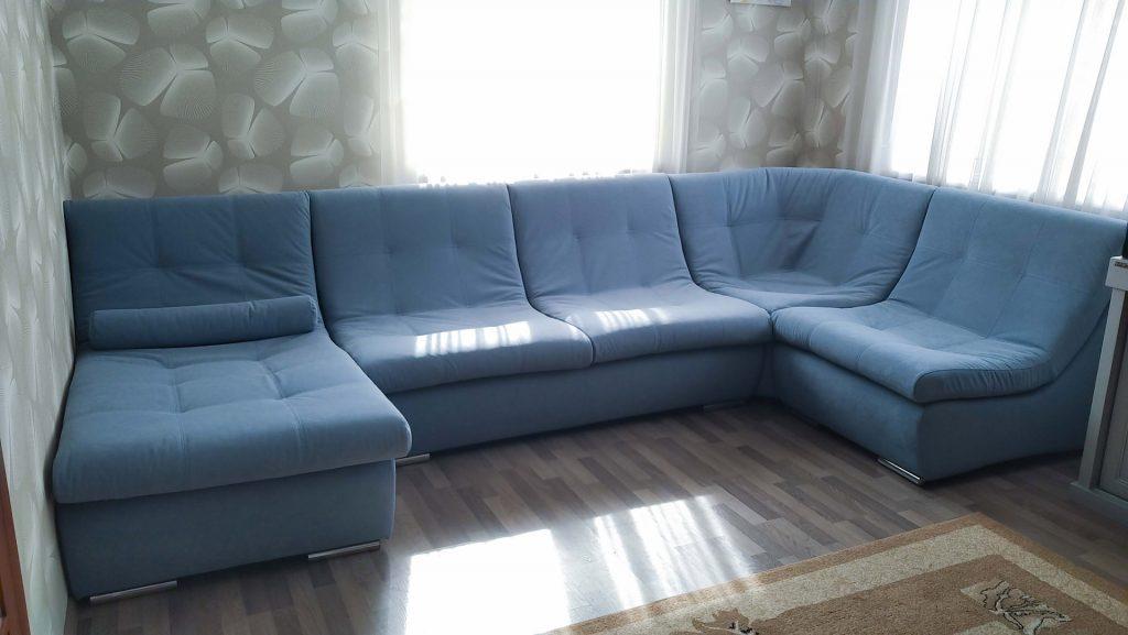 Перетяжка углового дивана модерн в киеве после перетяжки