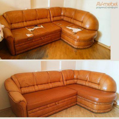 угловой кожаный диван Madras Cognac